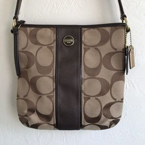 COACH signature stripe brown and tan crossbody